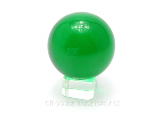 Кришталевий кулю на підставці зелений 5см (28862)