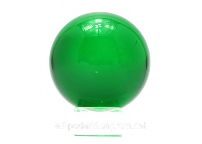 Кришталевий кулю на підставці зелений 6см (28726)