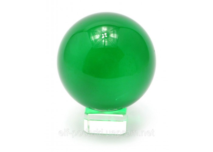 Кришталевий кулю на підставці зелений 8см (28861)