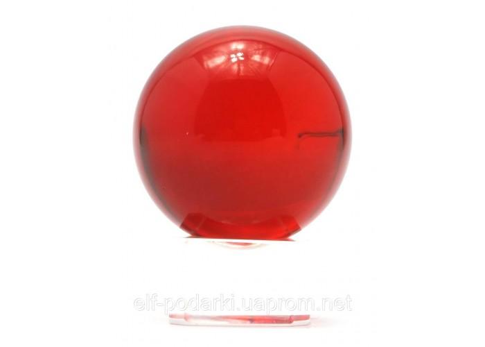 Кришталевий кулю на підставці червоний 4см (28728)