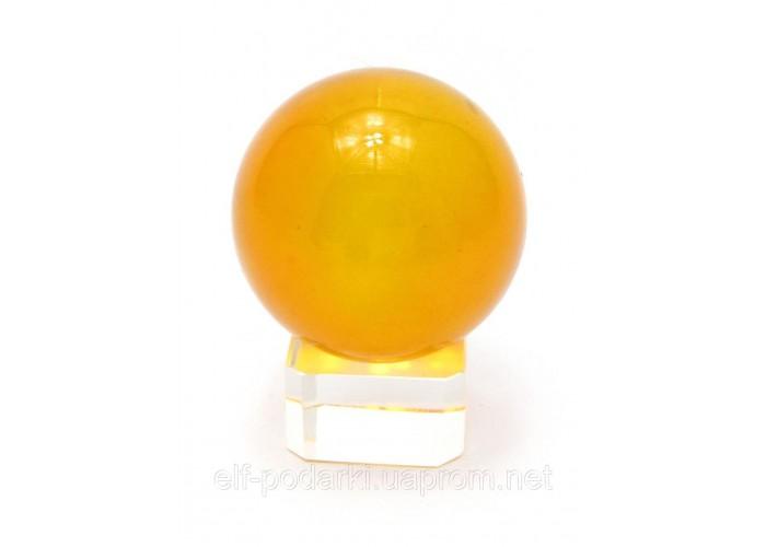 Кришталевий кулю на підставці помаранчевий 4см (28866)