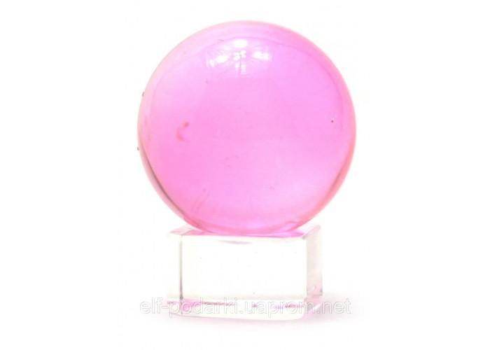 Кришталевий кулю на підставці рожевий 4см (28743)