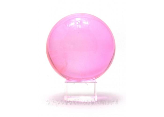 Кришталевий кулю на підставці рожевий 8см (2210)