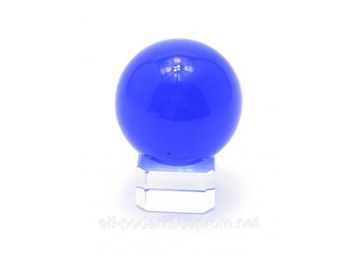 Кришталевий кулю на підставці синій 4см (28860)
