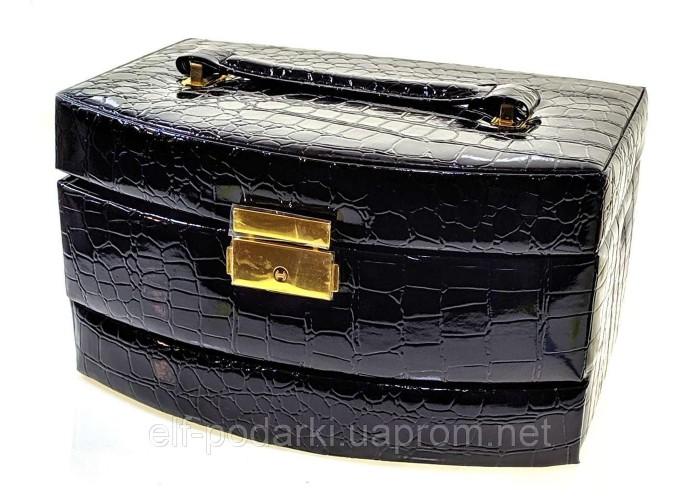 Скриня для біжутерії розсувна чорна (22х16х12,5 см) ЗП-32387