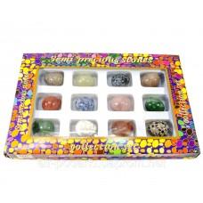 Яйця з напівдорогоцінного каміння (н-р/12шт)(яйце h-3 см d - 2.5 см)(упаковка 27х18х3,5 см)