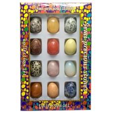 Яйця з напівдорогоцінного каміння 3,5х2,5см набір 12шт (26542)