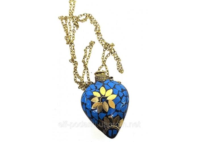 """Аромакулон бронзовий """"Серце"""" інкрустований бірюзою 5,5х4,5х2см (33872C)"""