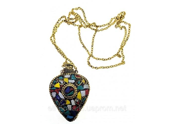 """Аромакулон бронзовий """"Серце"""" інкрустований камінням 5,5х4,5х2см (33872F)"""