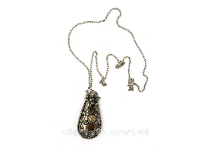 """Аромакулон бронзовий з камінням """"Лист"""" (6х3х2 см) ЗП-21815A"""