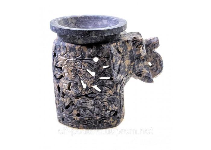 """Аромалампа з мильного каменю """"Слон"""" 9х10х7см (33954)"""