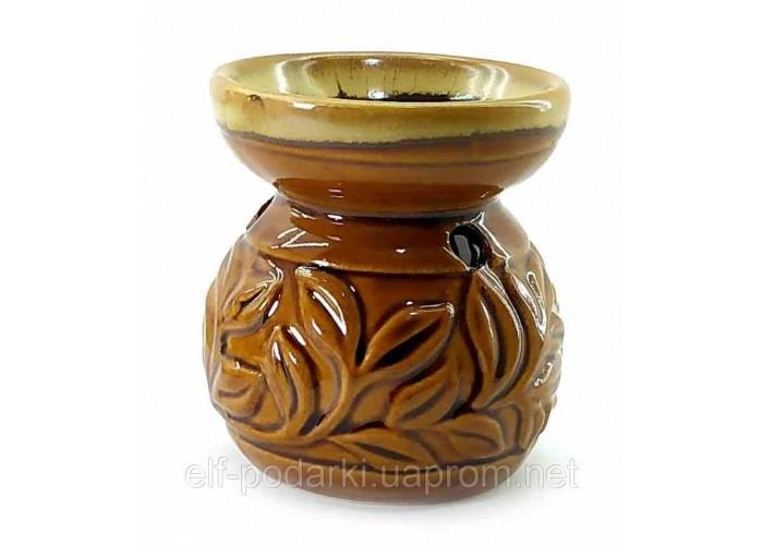 Аромалампа керамічна коричнева 8х7х7см (32792)