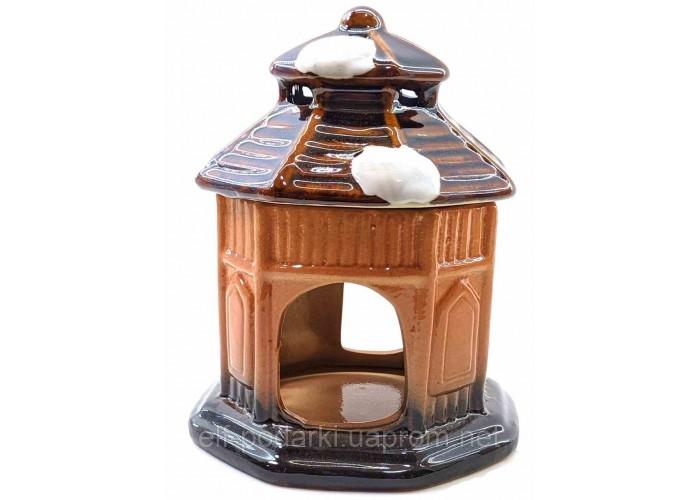 """Аромалампа керамічна """"Будиночок"""" коричнева 12х9,5х9,5 см (32946A)"""