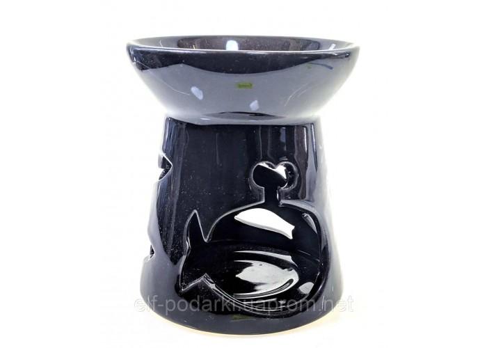 """Аромалампа керамічна """"Кит"""" чорна 10х9х9см (33860A)"""