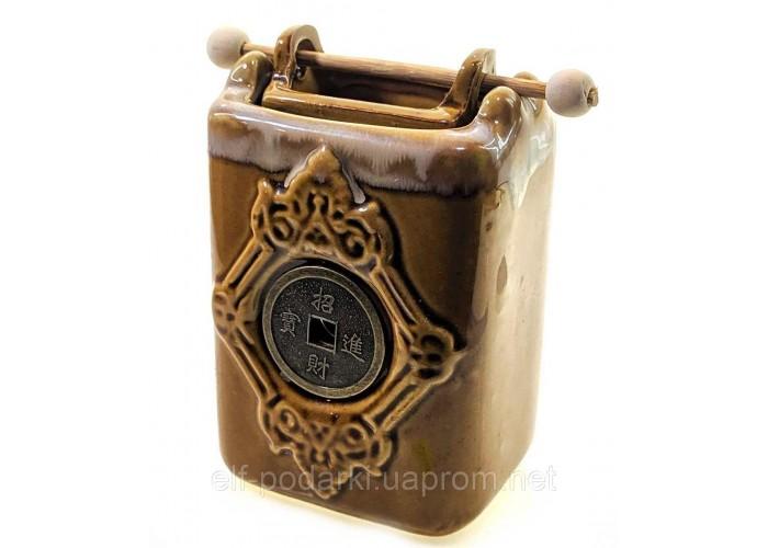 """Аромалампа керамічна """"Монета"""" коричнева 12х11х6см (33868A)"""