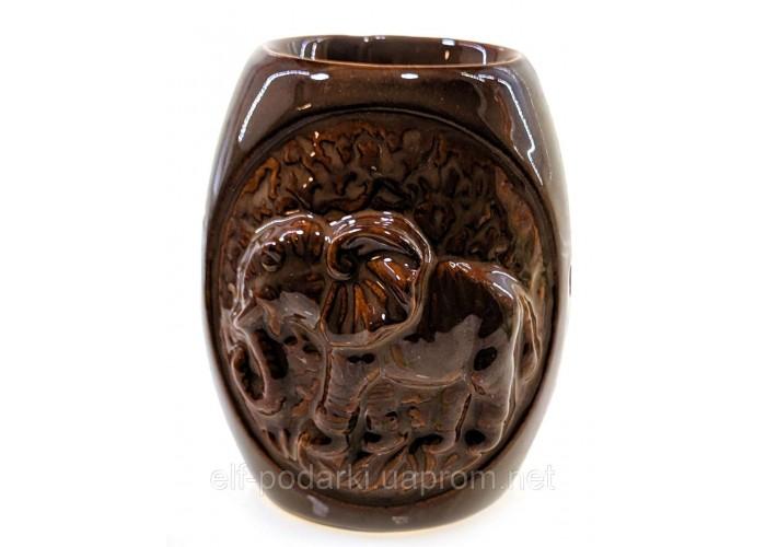 """Аромалампа керамічна """"Слон"""" коричнева 12х9,5х8см (32096B)"""