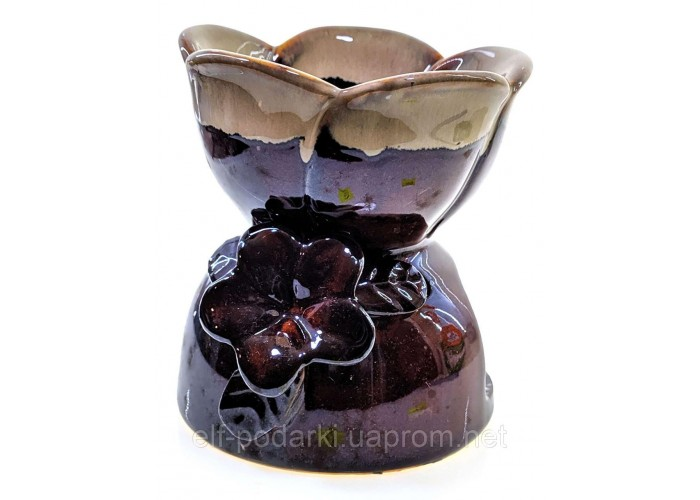 """Аромалампа керамічна """"Квітка"""" коричнева (11х11х12 см) ЗП-32227"""