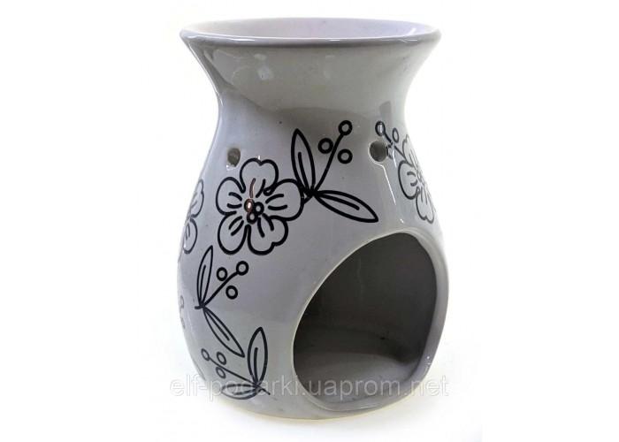 """Аромалампа керамічна """"Квіти"""" біла 11,5х9х9см (33859)"""