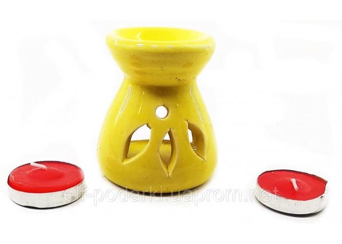 Аромалампа керамічна ,подарунковий набір жовта (12,5х8х7см) ЗП-32617D