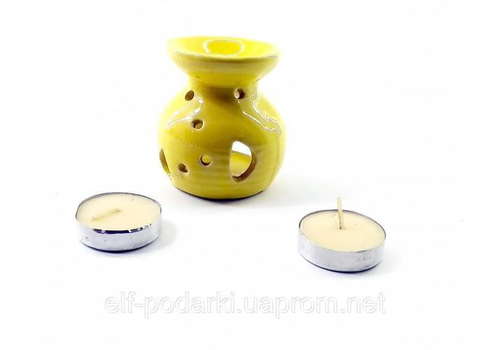 Аромалампа керамічна ,подарунковий набір жовта (12,5х8х7,5 см) ЗП-32302A