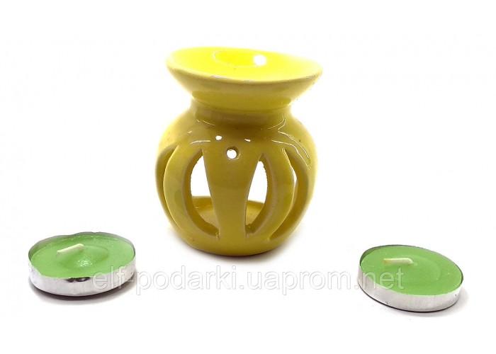 Аромалампа керамічна ,подарунковий набір жовта (12х8х7см) ЗП-32390C