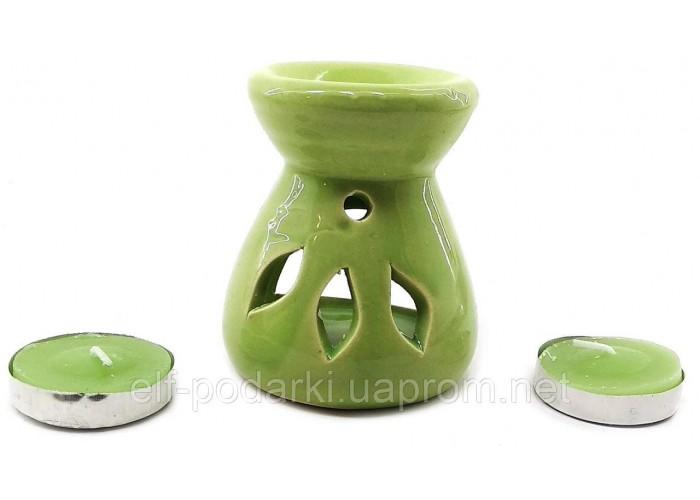 Аромалампа керамічна ,подарунковий набір зелена (12,5х8х7см) ЗП-32617A