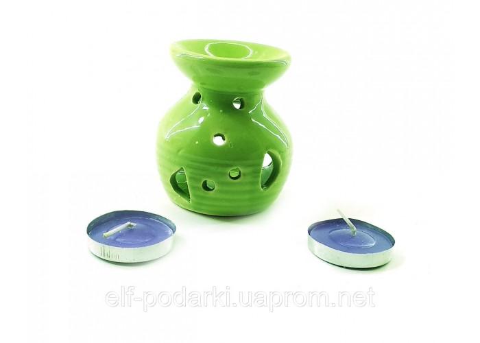 Аромалампа керамічна ,подарунковий набір зелена (12,5х8х7,5 см) ЗП-32302