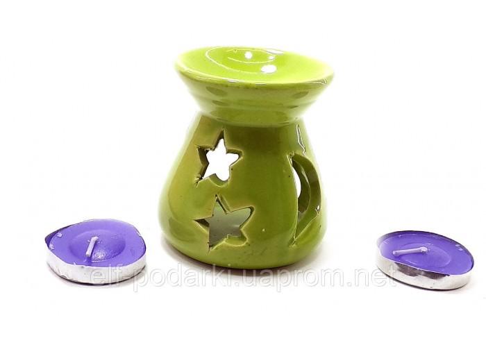 Аромалампа керамічна ,подарунковий набір зелена (12,5х8х7см) ЗП-32389