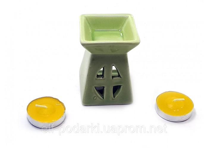 Аромалампа керамічна ,подарунковий набір зелена (12х8,5х7см) ЗП-32391