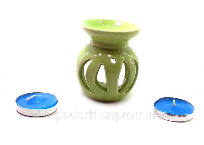 Аромалампа керамічна ,подарунковий набір зелена (12х8х7см) ЗП-32390