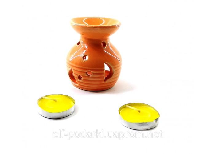 Аромалампа керамічна подарунковий набір помаранчева 12,5х8х7,5см (32302D)