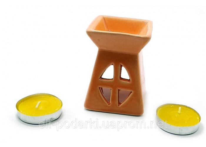 Аромалампа керамічна ,подарунковий набір помаранчева (12х8,5х7см) ЗП-32391B
