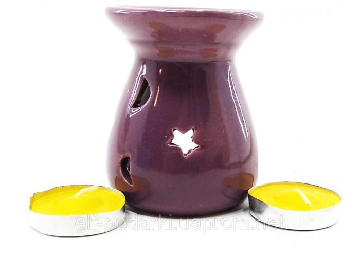 Аромалампа керамічна ,подарунковий набір пурпурова (12,5х8х7см) ЗП-32389E