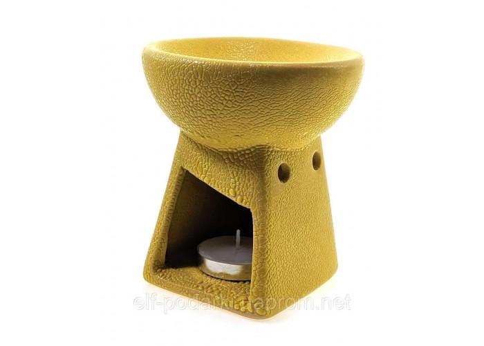 Аромалампа керамічна жовта 10х9х9см (33866B)