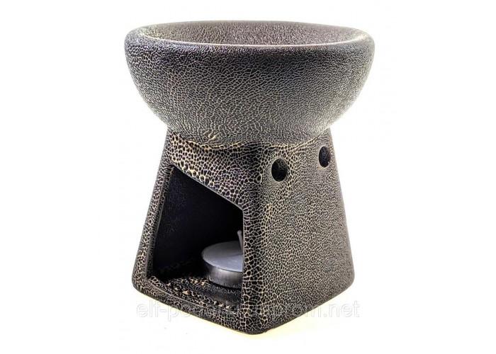 Аромалампа керамічна коричнева 10х9х9см (33866C)