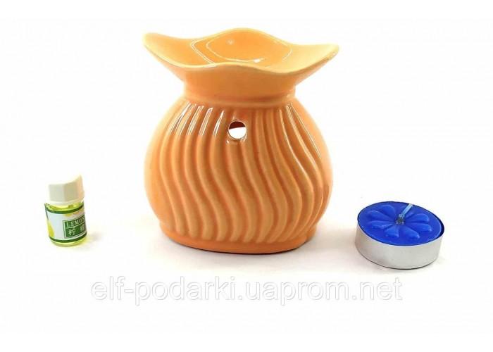 Аромалампа керамічна подарунковий набір помаранчева 15х11х6см (32780B)