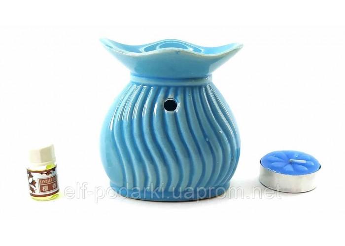 Аромалампа керамічна подарунковий набір блакитна 15х11х6см (32780C)